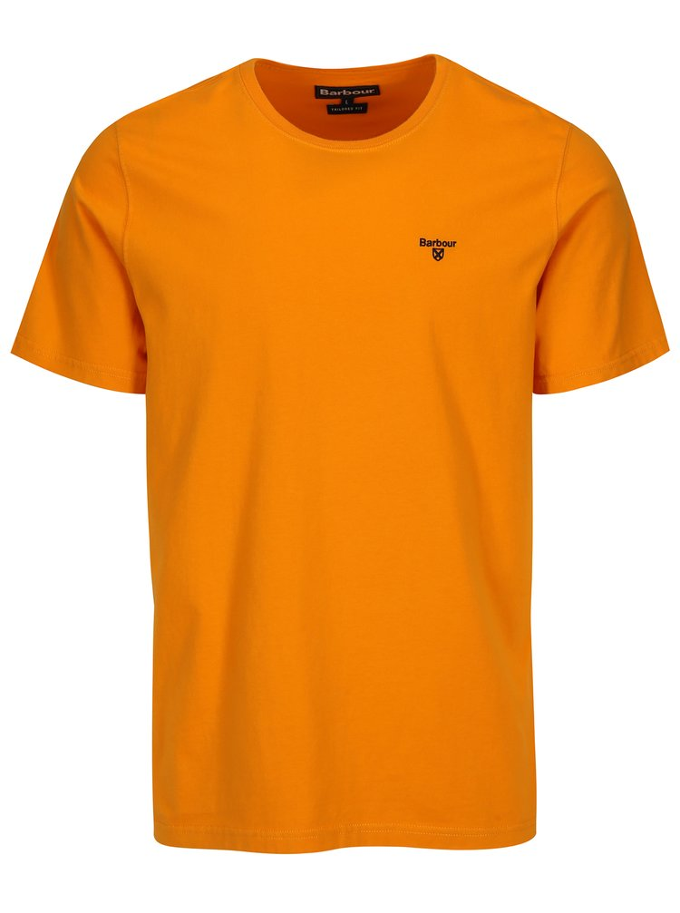Oranžové tailored fit basic tričko Barbour Sports Tee