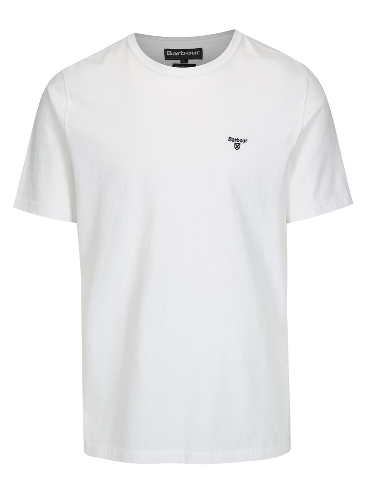 Tricou tailored fit alb cu logo brodat - Barbour Sports Tee