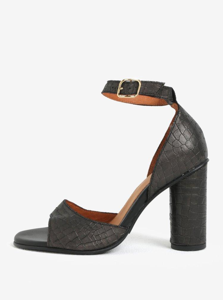Sandale negre din piele cu model reptila si toc masiv Seelected Femme You