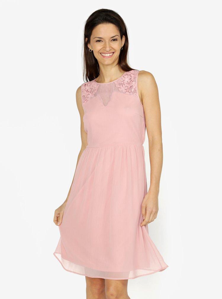 383a7e607a13 ... Růžové šaty s krajkou VERO MODA Dacey