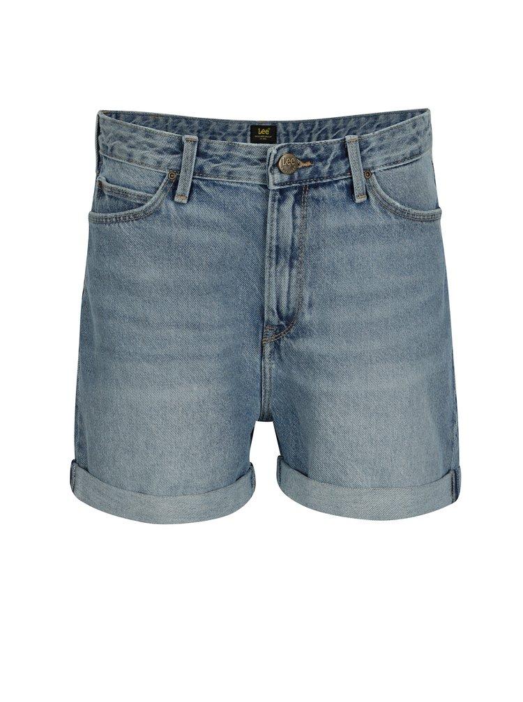 Modré dámské mom džínové kraťasy s vysokým pasem Lee Salina