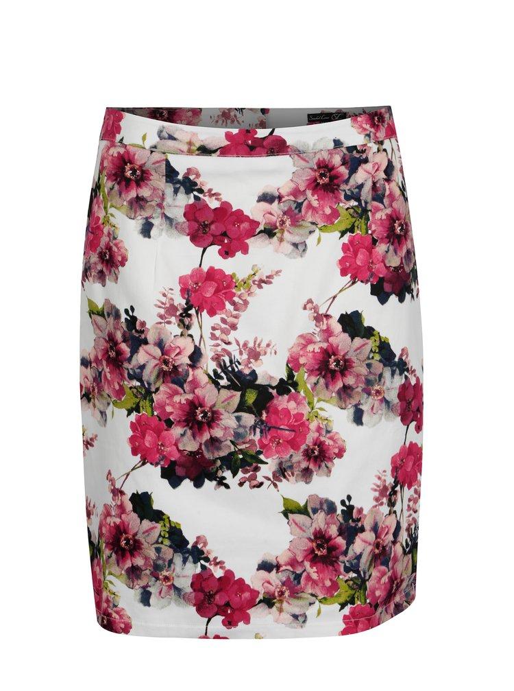 Růžovo-bílá květovaná pouzdrová sukně Smashed Lemon