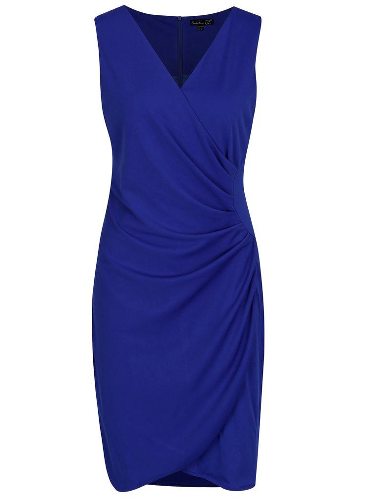 Tmavě modré šaty s překládaným výstřihem a řasením na boku Smashed Lemon