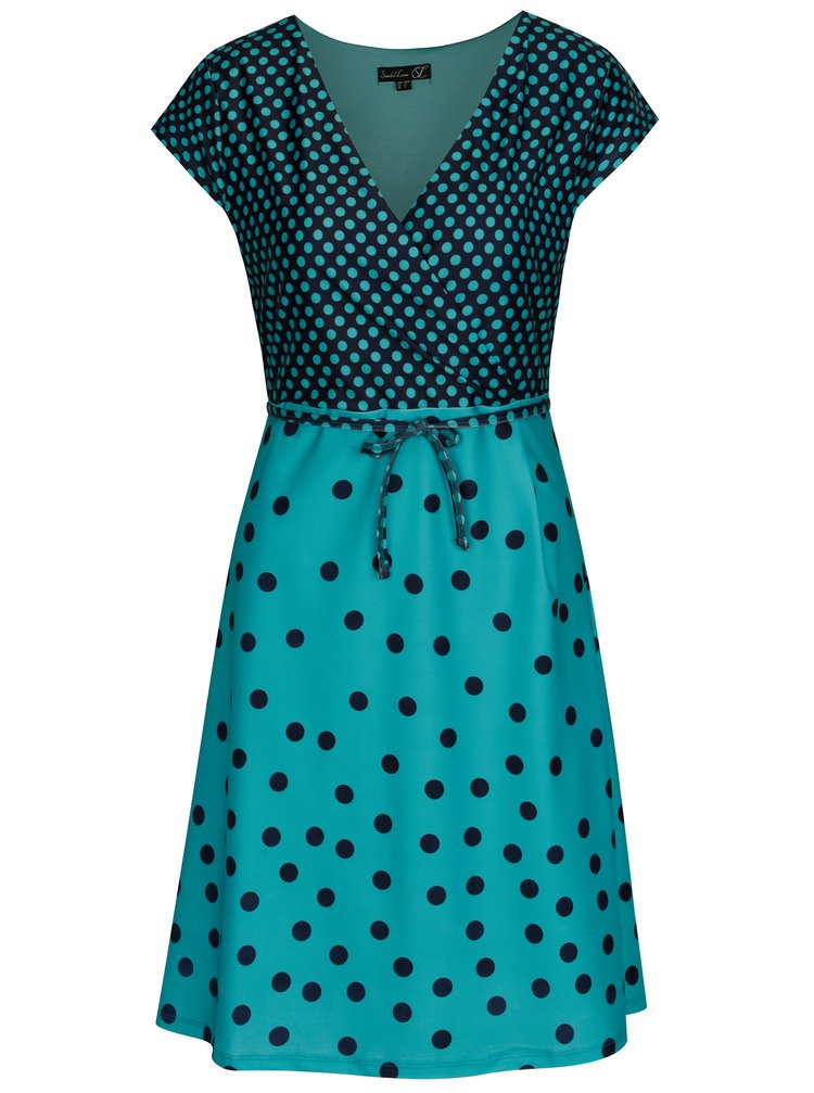 Tyrkysové puntíkované šaty s páskem Smashed Lemon