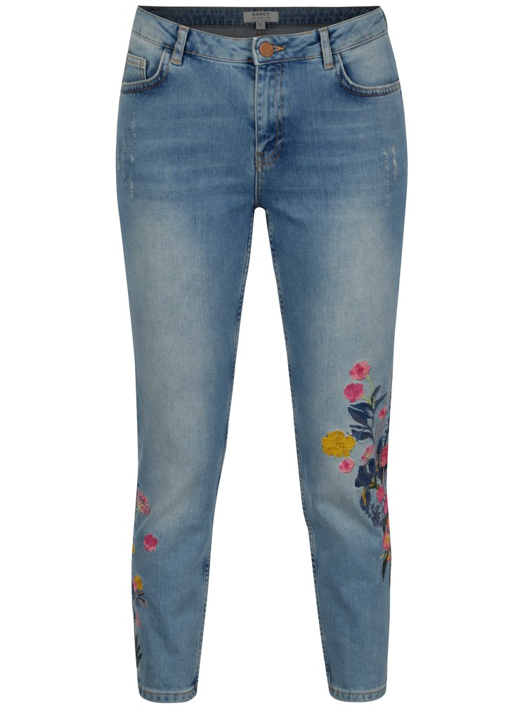 Modré skinny zrkácené džíny s výšivkou Dorothy Perkins Darcy