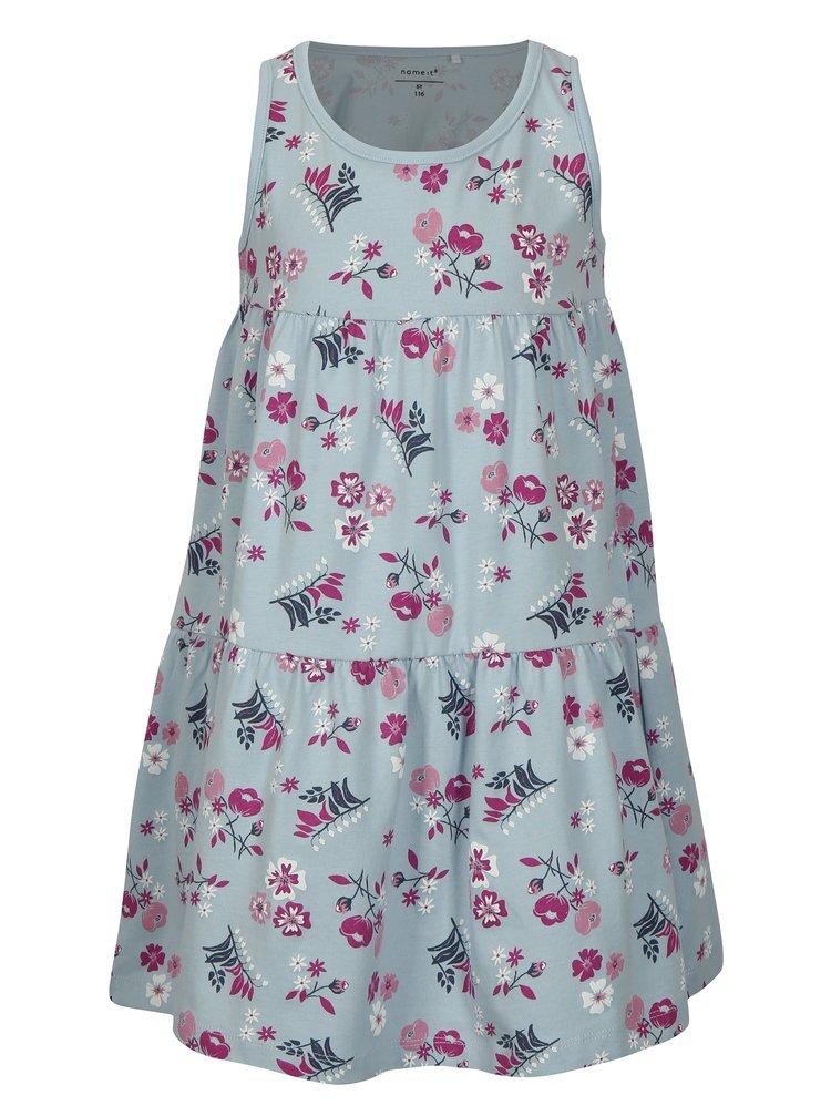 Modré holčičí vzorované šaty bez rukávů name it Viga