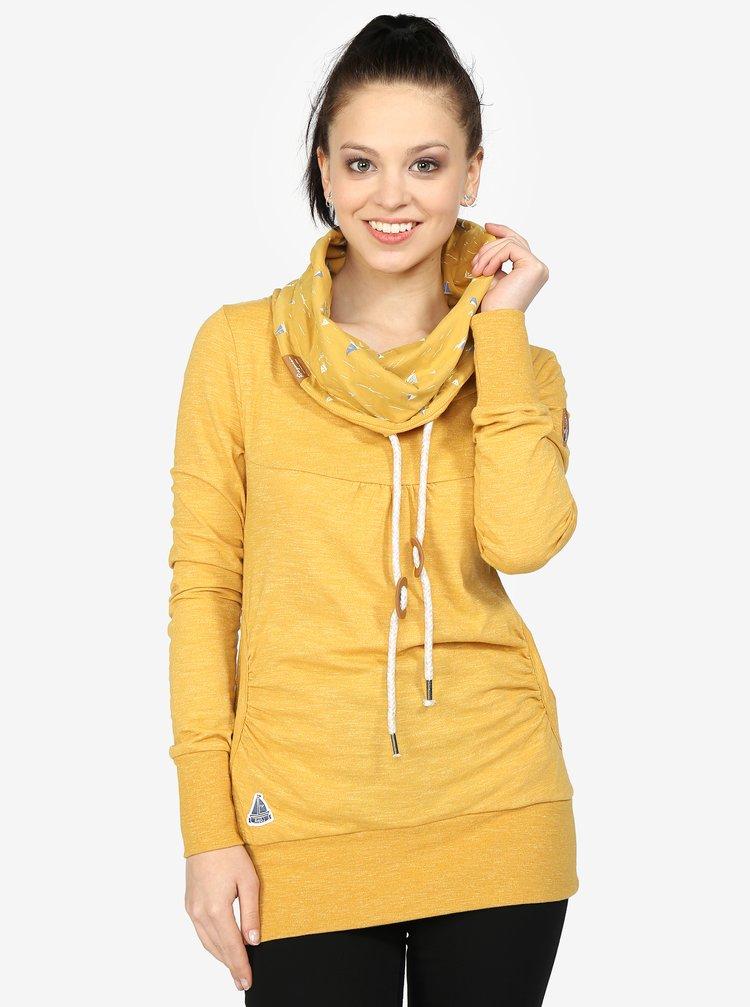 Bluza sport galbena cu guler si print pentru femei - Ragwear Chenay