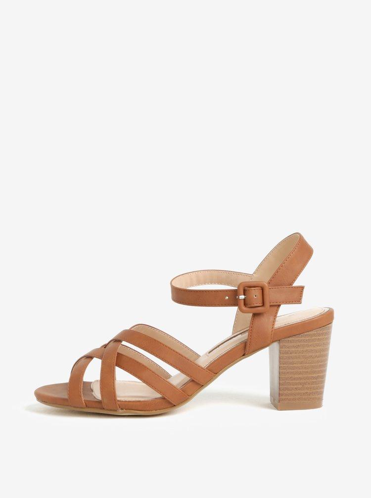 Sandale maro cu toc si barete incrucisate -  Dorothy Perkins