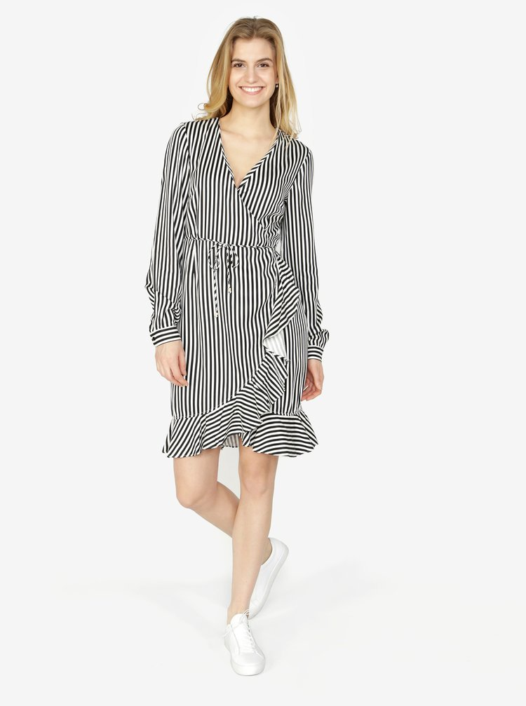 53300b962c35 Čierno-biele pruhované zavinovacie šaty s volánom VERO MODA Lizette