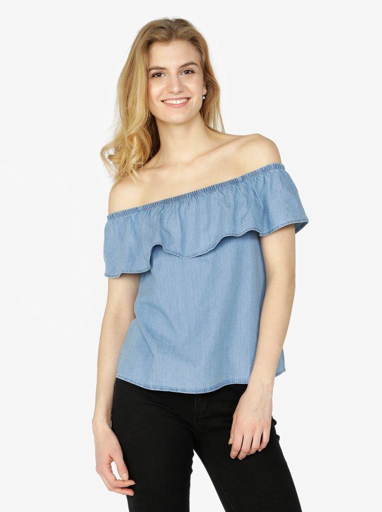 Bluza bleu din denim cu decolteu amplu pe umeri - VERO MODA Emilia
