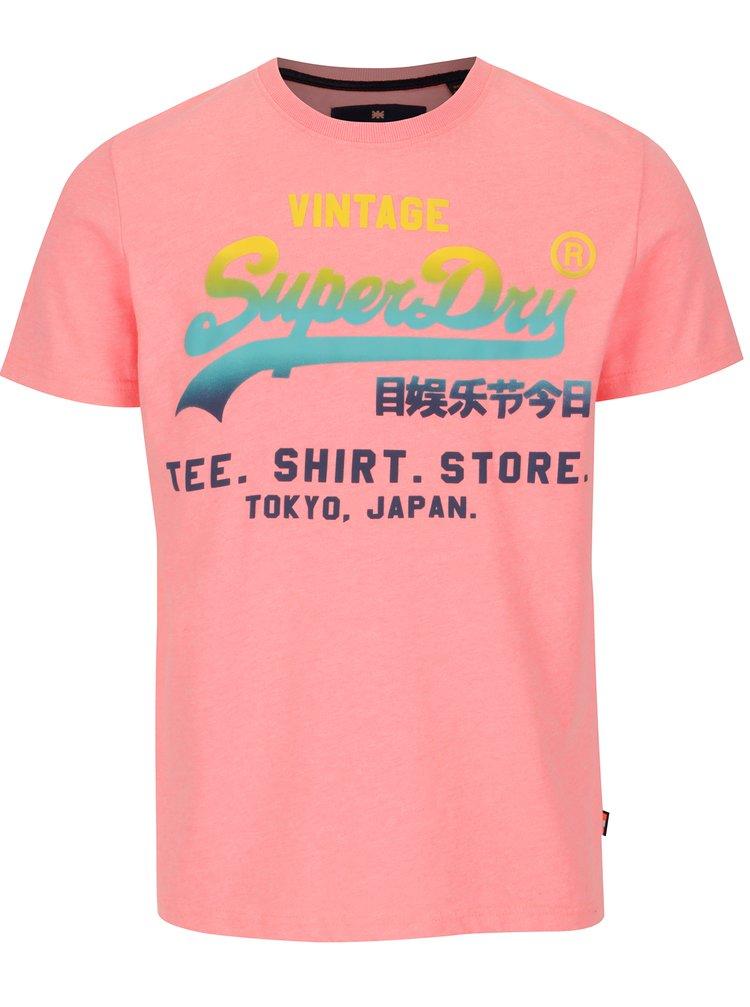 Růžové pánské tričko s potiskem Superdry
