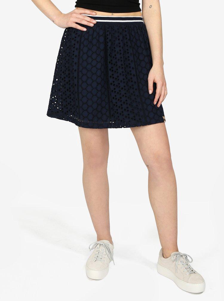 Tmavomodrá áčková sukňa Superdry