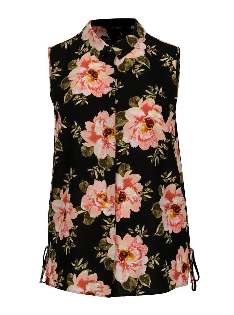 Camasa neagra cu print floral Dorothy Perkins Curve