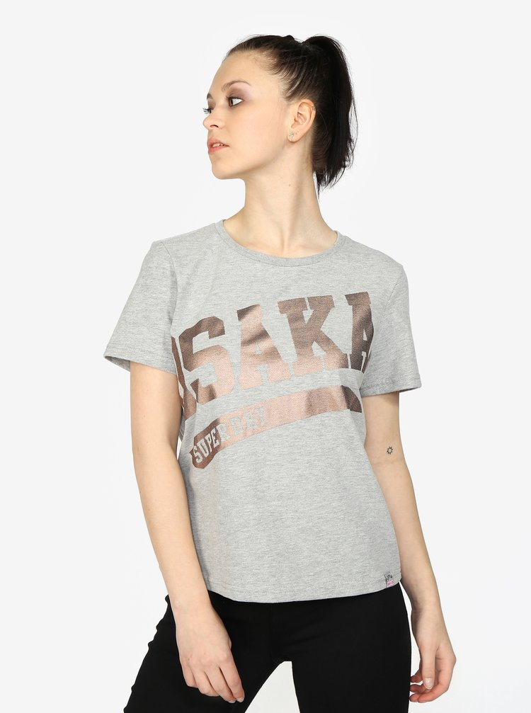Šedé dámské žíhané tričko s potiskem Superdry