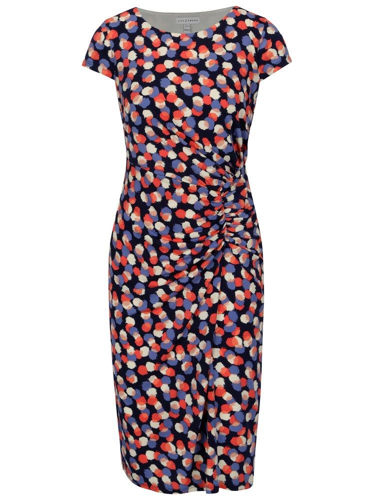 Tmavě modré puntíkované šaty s řasením Dorothy Perkins