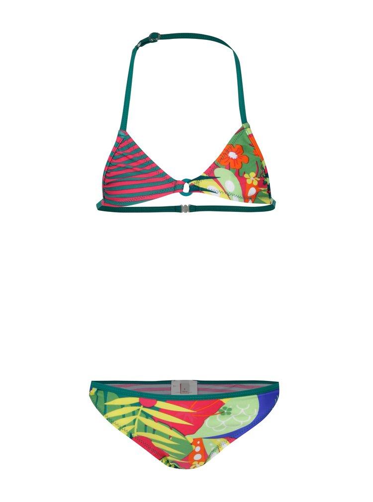 Růžovo-zelené holčičí dvoudílné plavky s potiskem BÓBOLI
