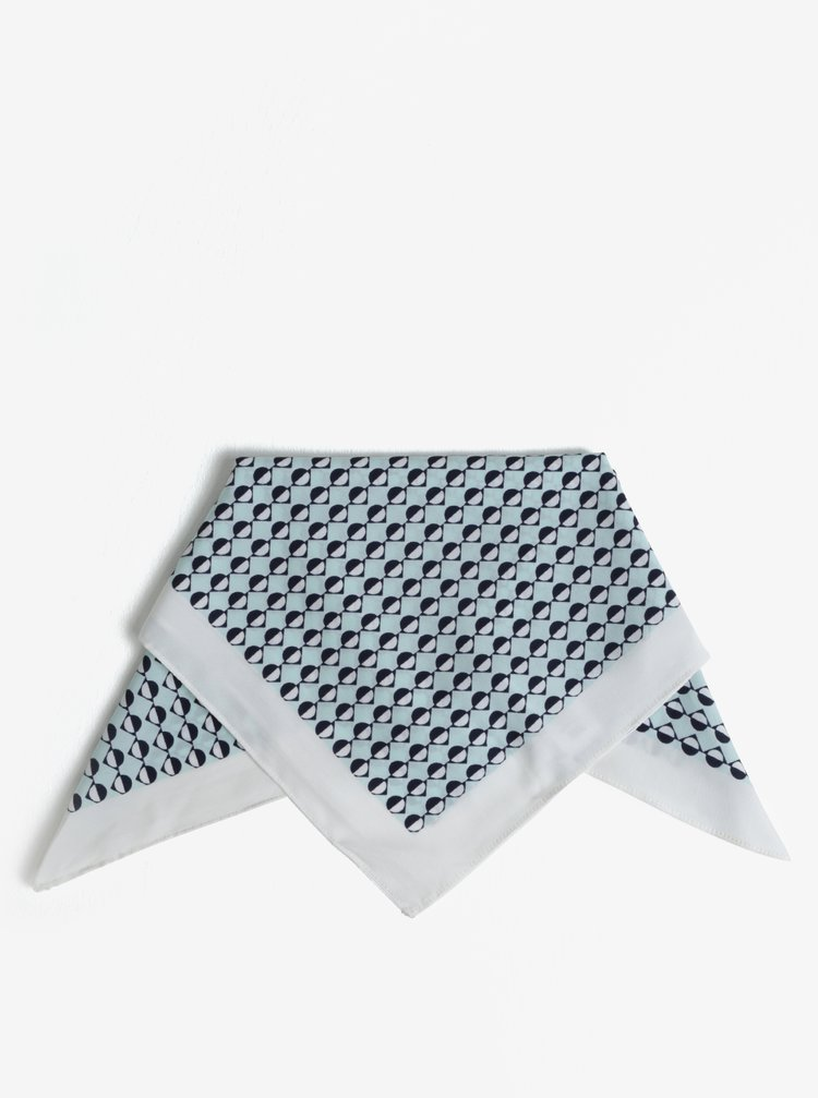 Esarfa bleu cu print geometric Pieces Nomani
