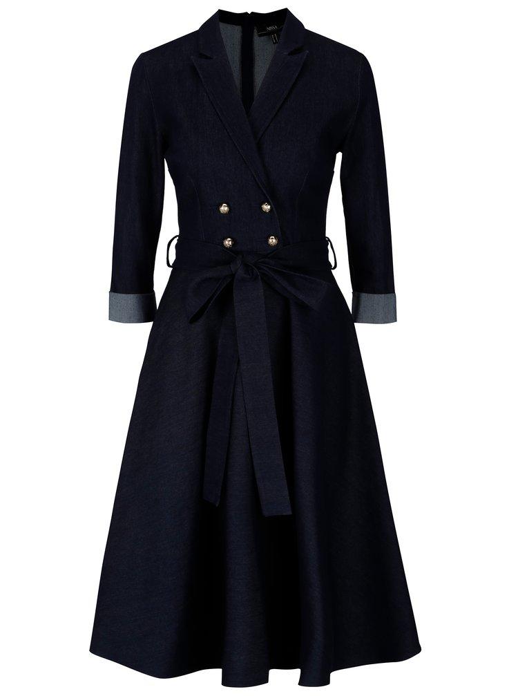 Tmavomodré rifľové šaty s 3/4 rukávom NISSA