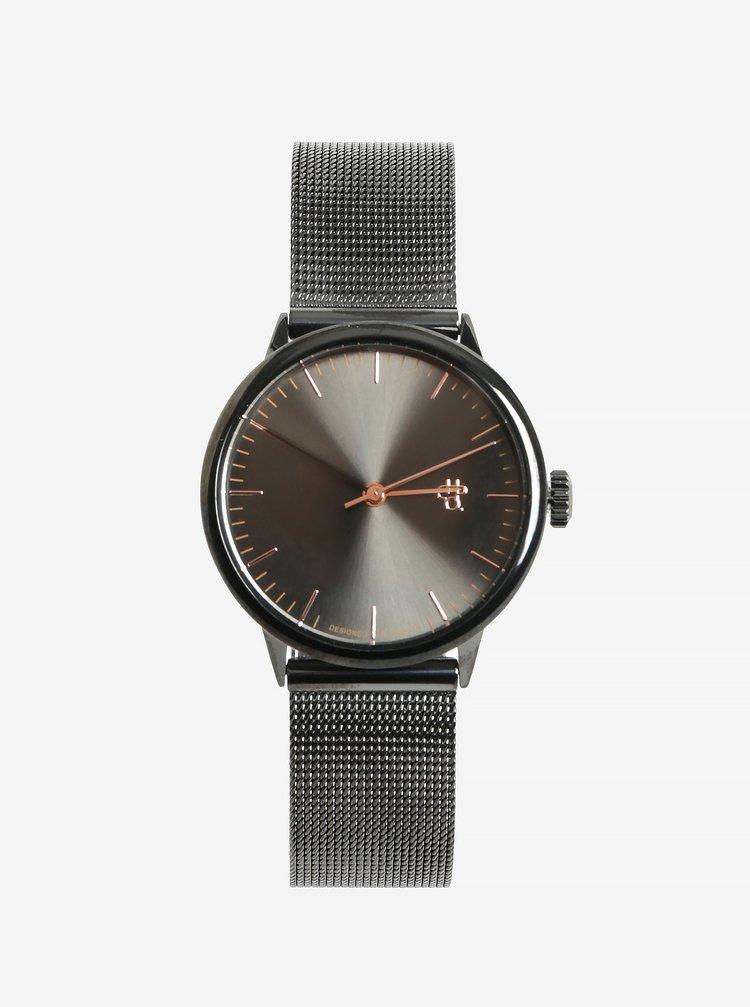 Dámské hodinky s tmavě šedým nerezovým páskem CHPO Nando Mini Gun