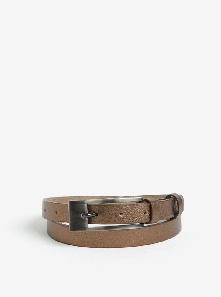 Dámský kožený pásek v bronzové barvě KARA