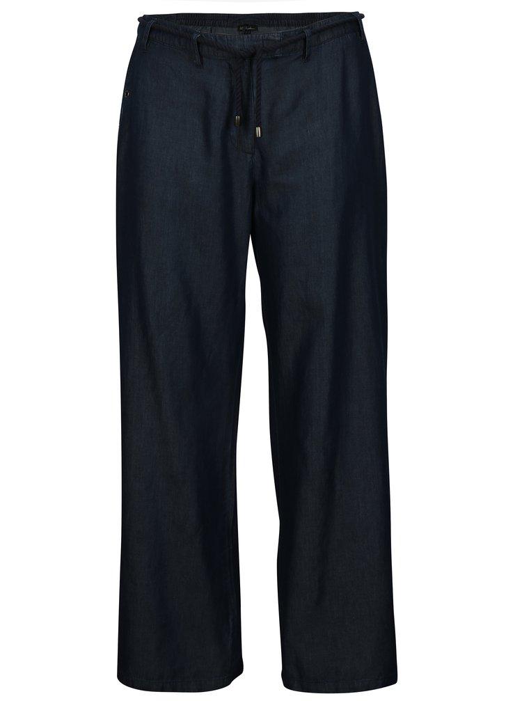 Tmavomodré voľné nohavice s opaskom Ulla Popken
