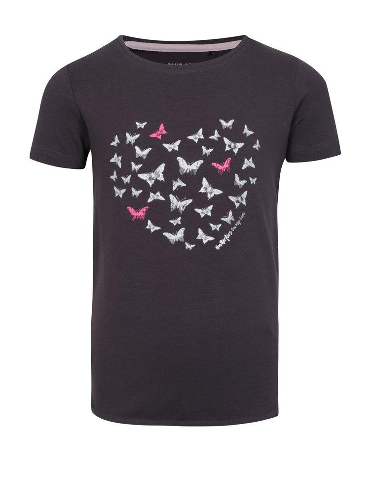 Tmavě šedé holčičí tričko s krátkým rukávem Blue Seven