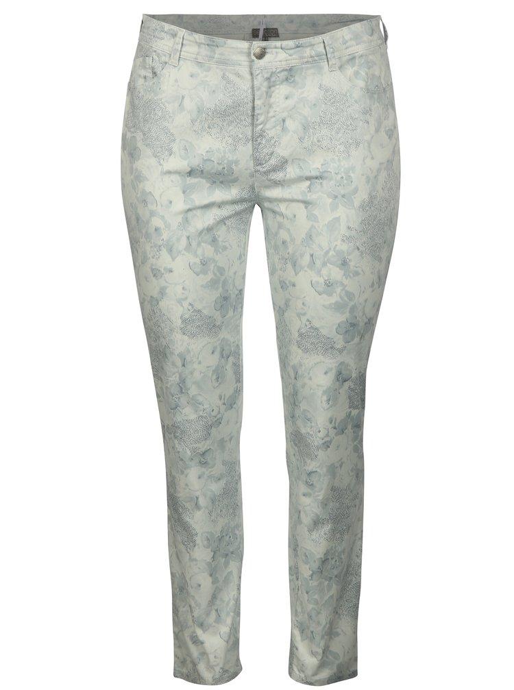 Světle šedé vzorované kalhoty Ulla Popken