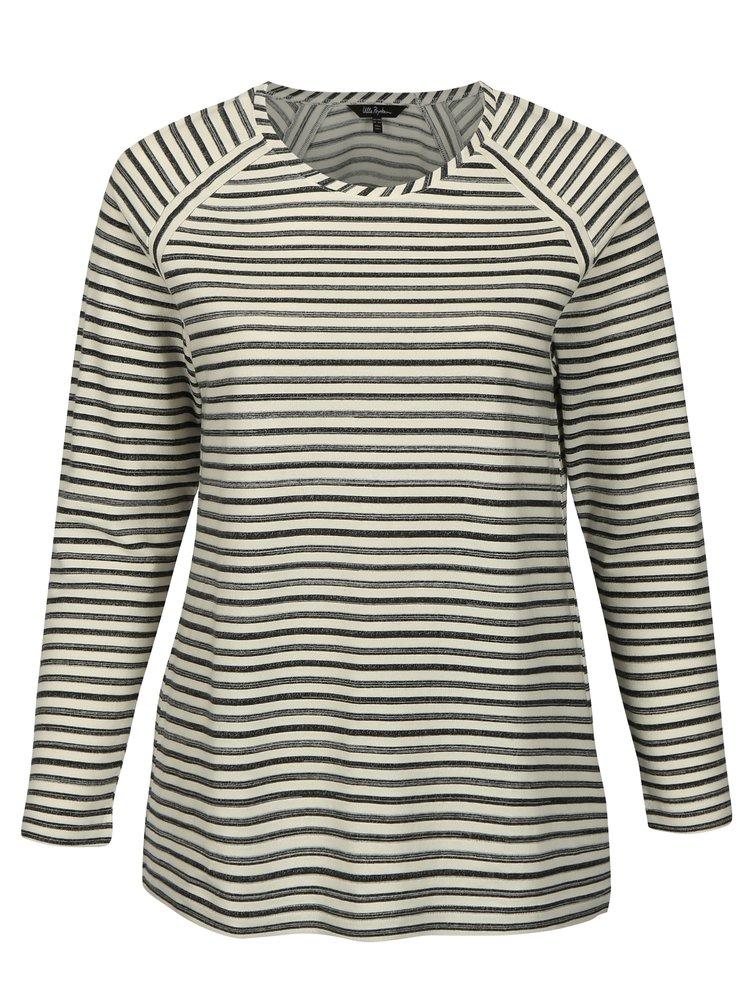 Krémové pruhované tričko s dlouhým rukávem Ulla Popken