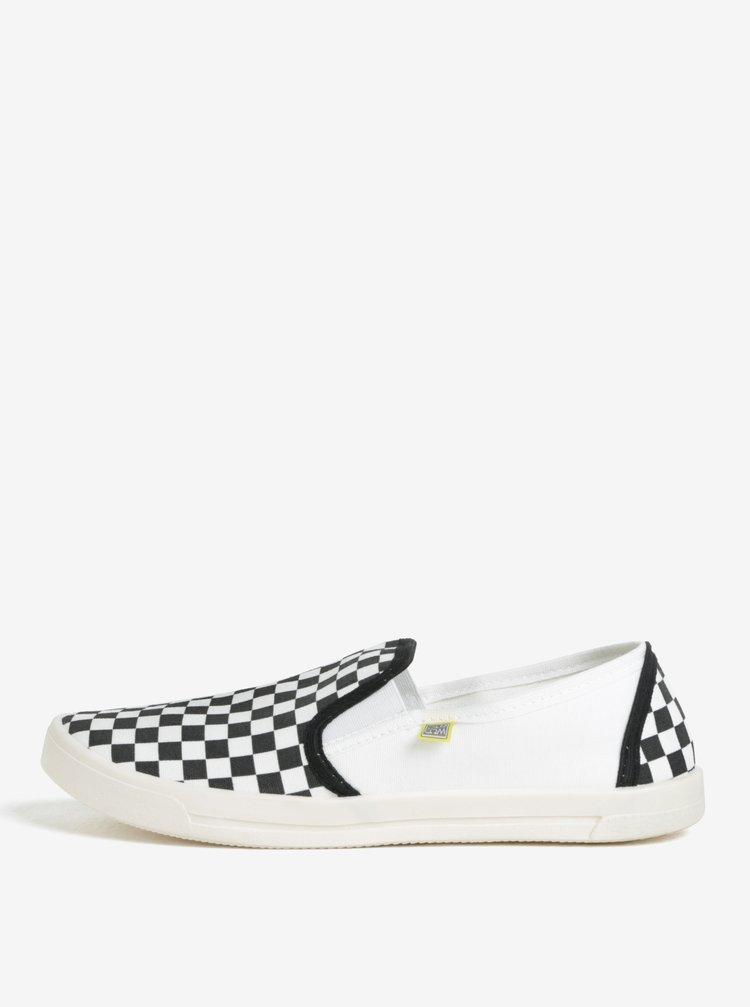 Pantofi slip on unisex cu print checkered alb & negru - Oldcom Cooper