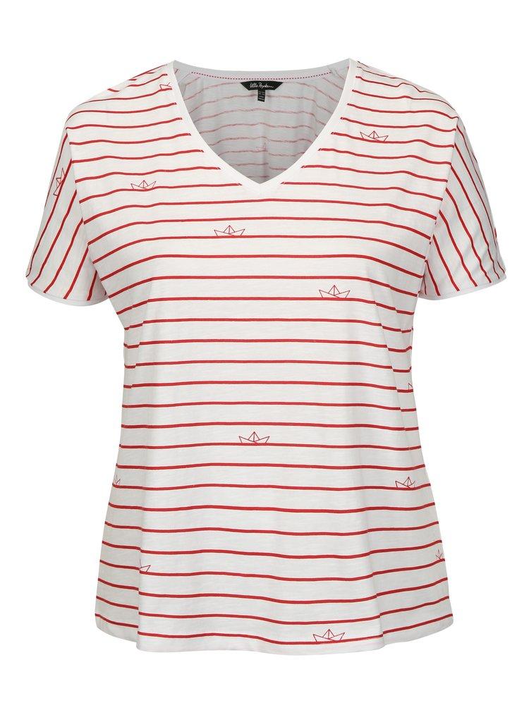 Červeno-bílé pruhované tričko Ulla Popken