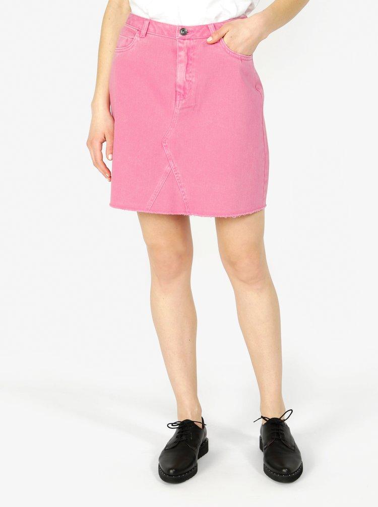 Růžová džínová sukně s kapsami VERO MODA Carolyn