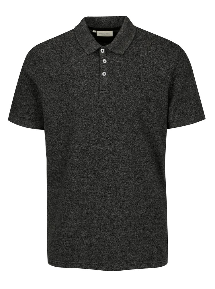 Tricou polo gri inchis melanj - Casual Friday by Blend