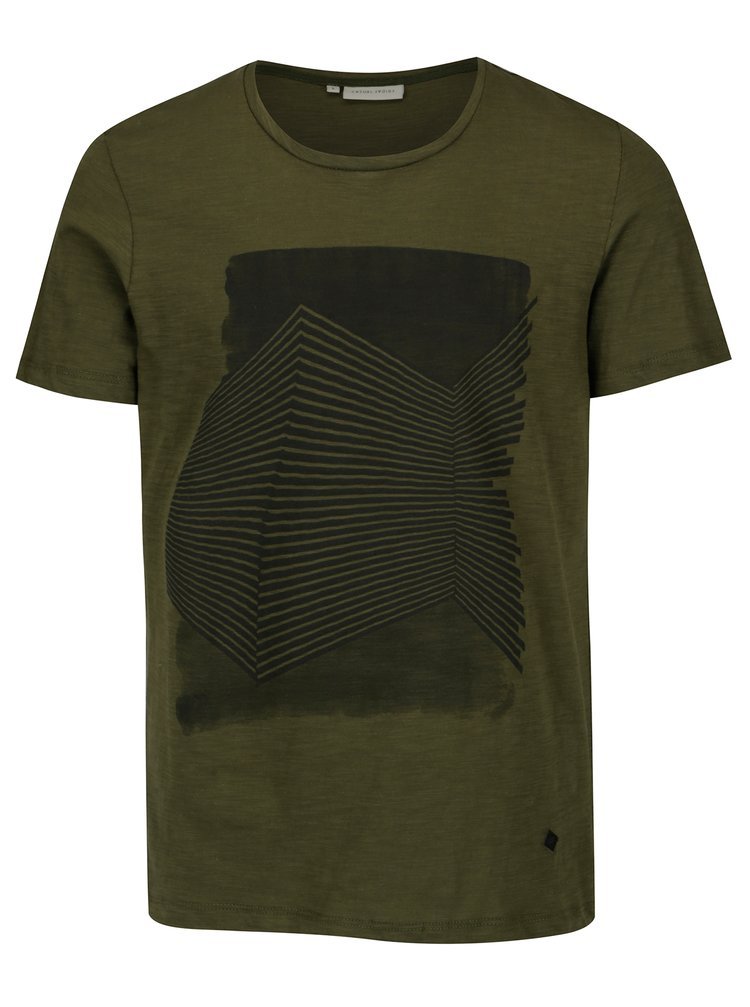 Tricou verde inchis din bumbac cu print grafic - Casual Friday by Blend