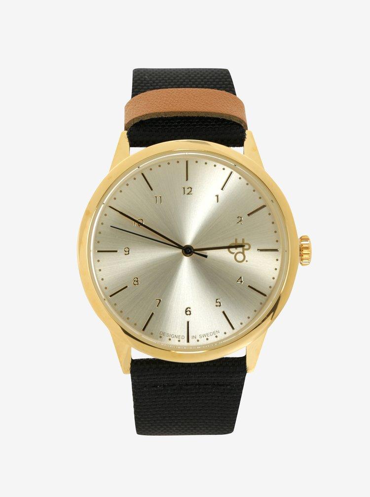 Unisex hodinky v zlatej farbe s remienkom z vegánskej kože CHPO Rawiya Classic Gold