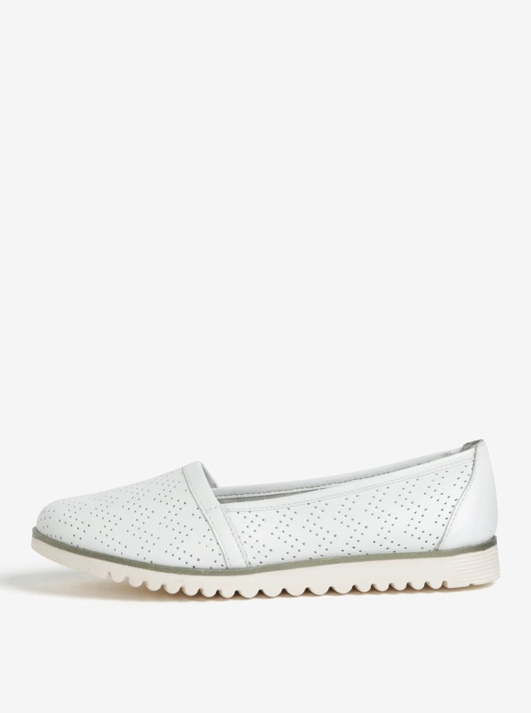 Pantofi slip on albi din piele cu perforatii - Tamaris