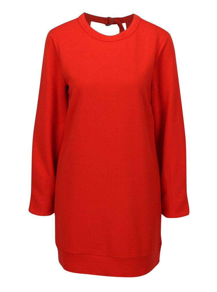 Červené mikinové žebrované šaty s průstřihem na zádech Jacqueline de Yong Boy