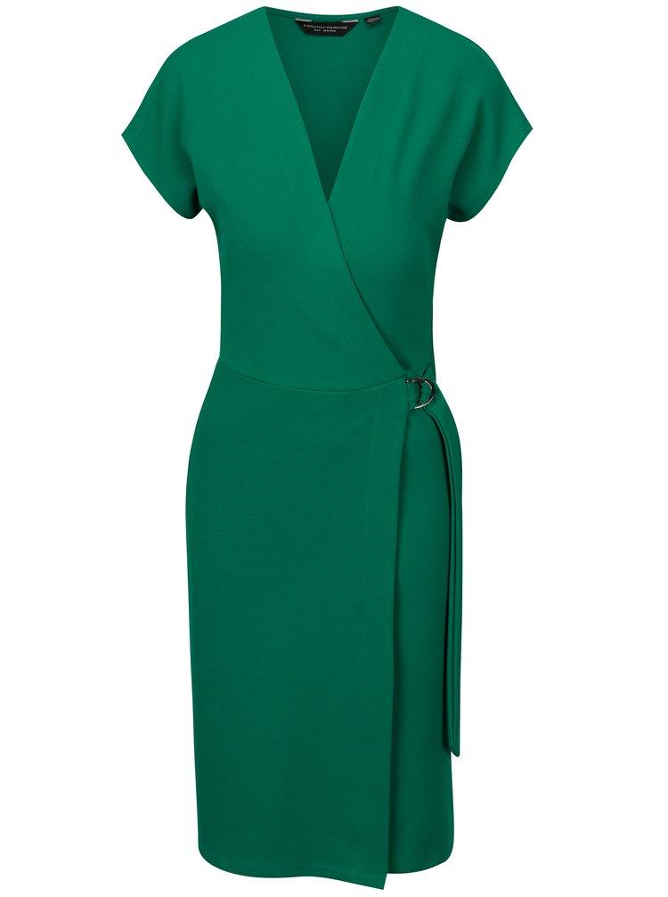 Zelené šaty s překládaným předním dílem Dorothy Perkins