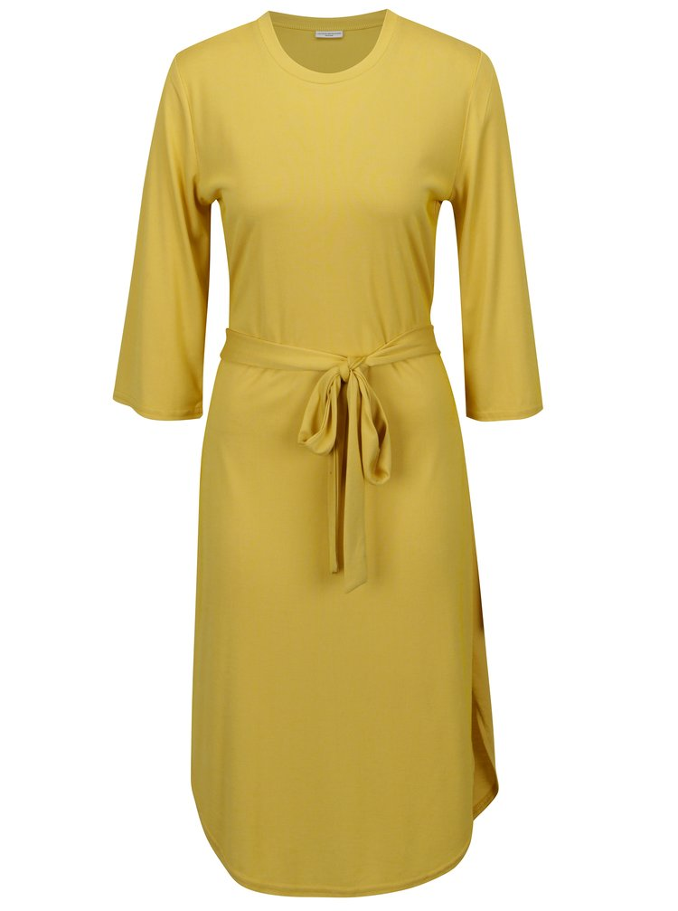 Žluté žebrované šaty s páskem Jacqueline de Yong Ban