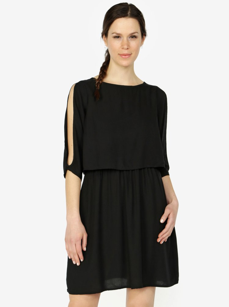 Černé šaty s 3/4 rukávem VERO MODA Boca