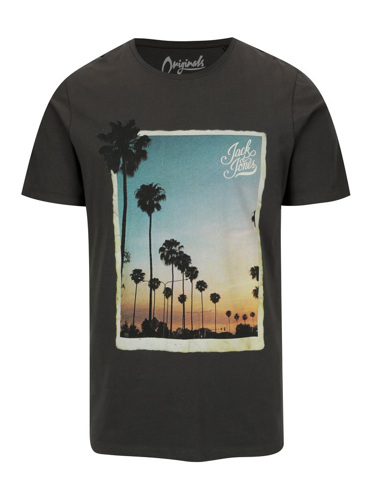 Tmavě šedé tričko s potiskem Jack & Jones Premium Horizon