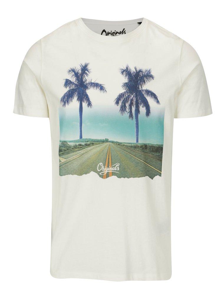 Krémové tričko s potiskem Jack & Jones Premium Horizon Road