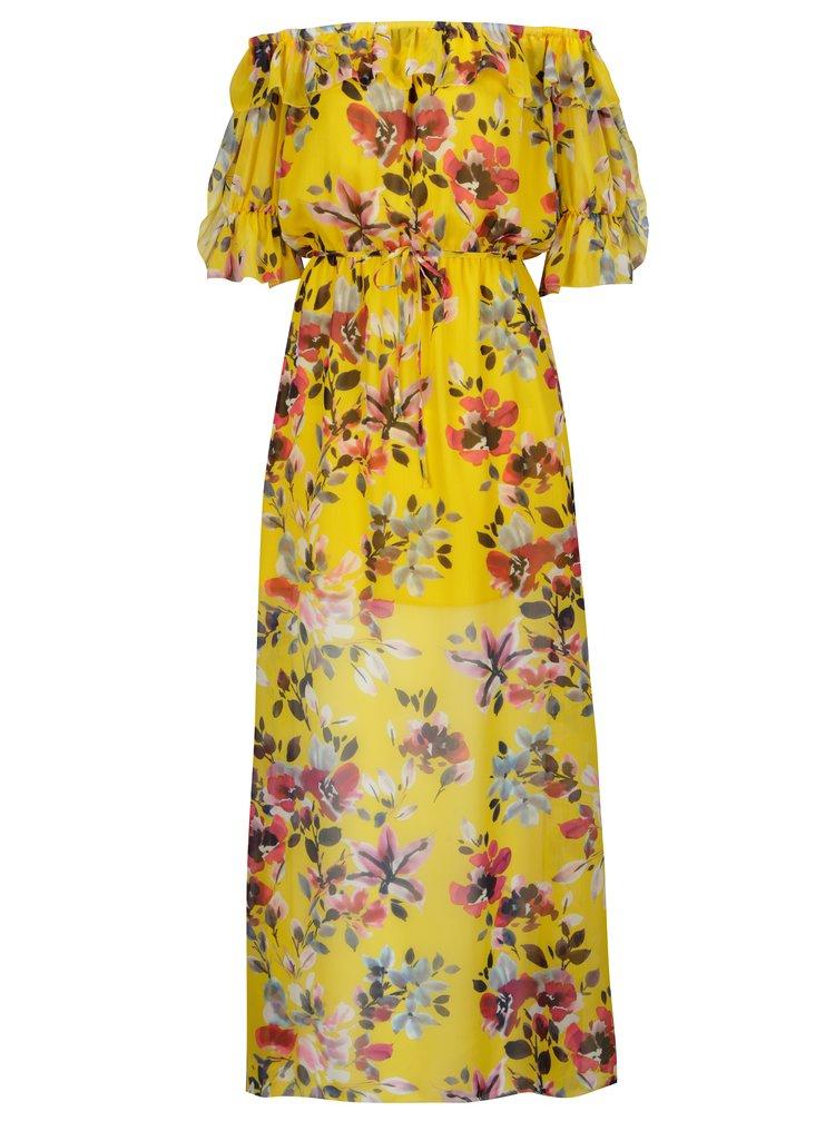 Žluté květované maxišaty s odhalenými rameny French Connection Linosa