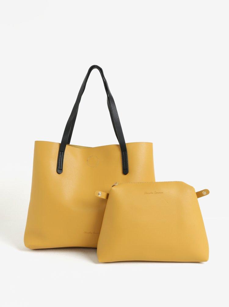Geanta shopper galben mustar cu barete negre si portofel detasabil Claudia Canova Ophelia