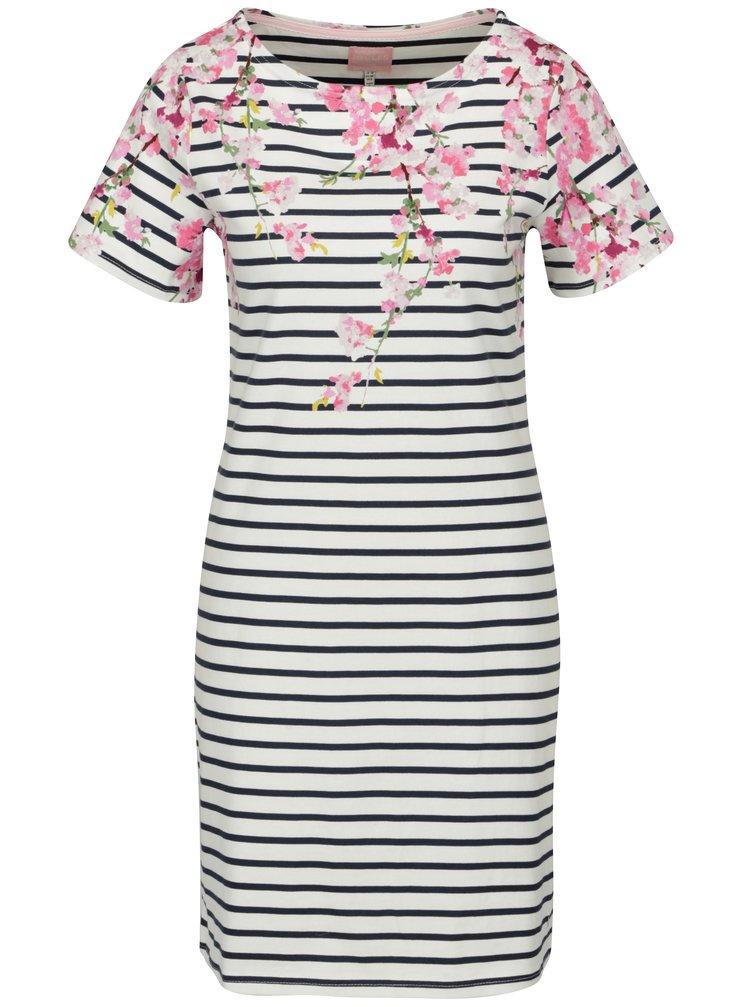 Rochie alba cu print floral si dungi Tom Joule Riviera Print
