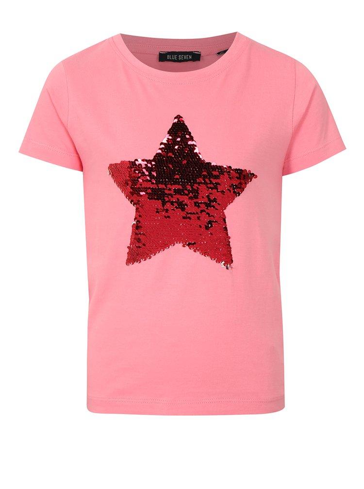 Světle růžové holčičí tričko s magickými flitry Blue Seven
