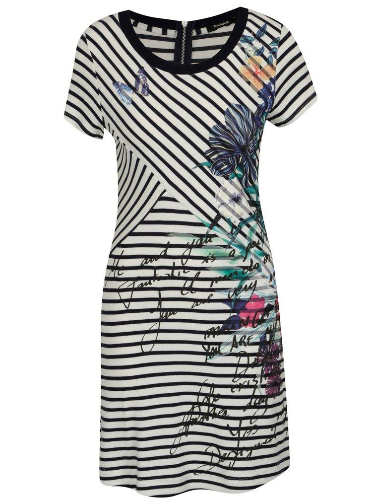 Modro-krémové pruhované šaty s krátkým rukávem Desigual Alfredo
