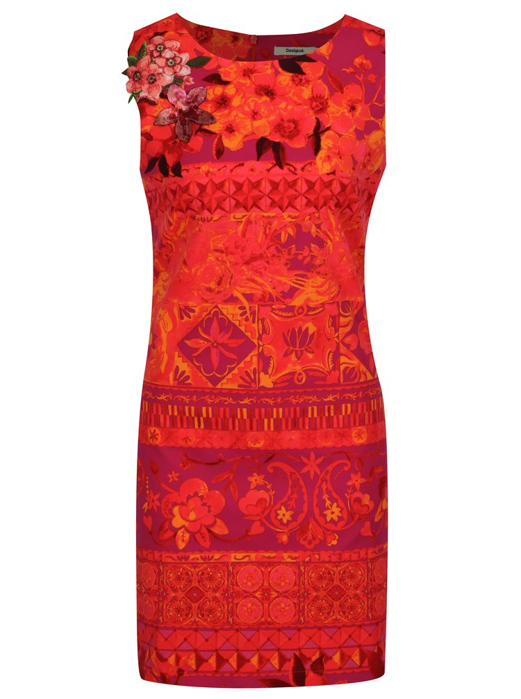 Fialovo–oranžové šaty Desigual Angelina