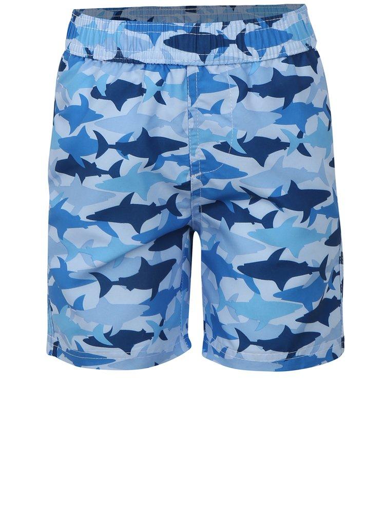 Modré klučičí plavky s potiskem žraloků Blue Seven