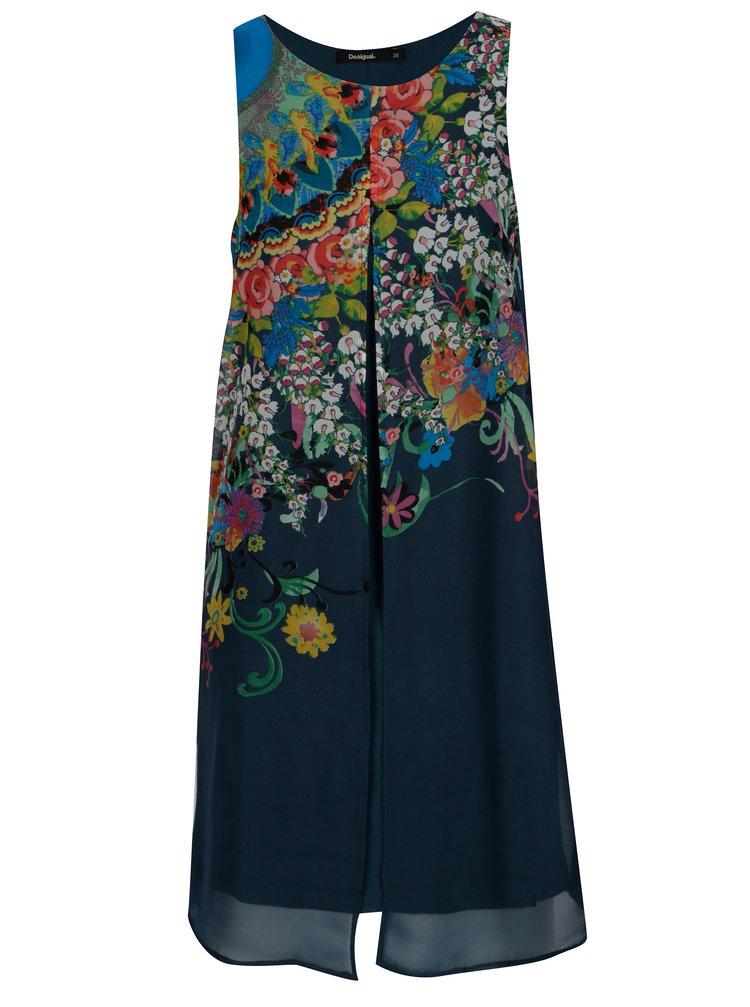 Rochie bleumarin cu print - Desigual Candice