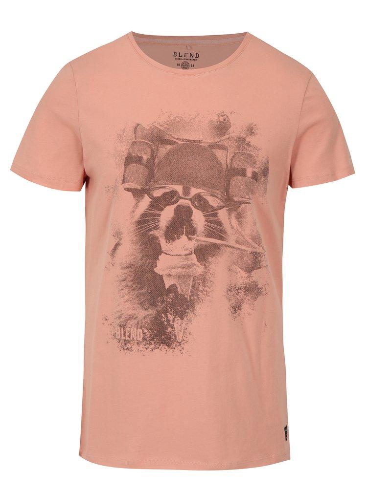 Růžové slim fit tričko s potiskem Blend
